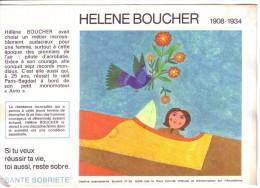 BUVARD - ALCOOL ... SÉCURITÉ SOBRIÉTÉ... AVION ... AVIATRICE ... HELENE BOUCHER ... N° 26 - A