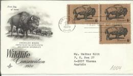 ESTADOS UNIDOS USA FDC 1970 CUSTER BUFALO MAMIFERO CONERVACION VIDA SALVAJE - Animalez De Caza