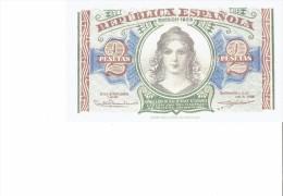 SPAIN 1938- REPLICA - REPRODUCTION -PUENTE DE TOLEDO DE MADRID-CABEZA REPUBLICA PAPER BILL 2 PTAS  ISSUED1938 RE49 1 PER - [ 8] Falsi & Saggi