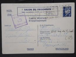 """FRANCE-Entier Au Type Pétain """" Salon Du Prisonnier"""" Voyagé En 1941 Pour Un Prisonnier LOT P5826 - Enteros Postales"""