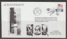 ENVELOPPE SOUVENIR DES ETATS-UNIS - DECOLLAGE DE L´EQUIPAGE DE SKYLAB (TIMBRE DRAPEAU) - Etats-Unis
