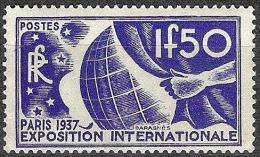 """EXPO Int.Paris 1937:  """"Höchstwert 1.50 F"""" Michel-No.333 ** MNH  (Mi € 45.00) - Weltausstellung"""