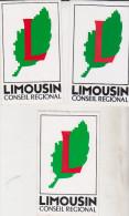 3 Autocollants Limousin Conseil Régional - Autocollants