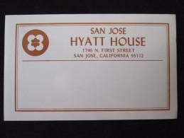 HOTEL MOTOR INN HYATT SAN JOSE CALIFORNIA USA UNITED STATES LUGGAGE LABEL ETIQUETTE AUFKLEBER DECAL STICKER - Hotel Labels
