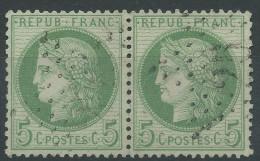 Lot N°29326     Variété/Paire Du N°53, Oblit étoile Chiffrée 25 De PARIS ( R. De La Harpe ), Fond Ligné Horizontal - 1871-1875 Cérès