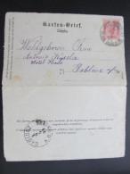 GANZSACHE Jungbunzlau - Gablonz Kartenbrief 1894  ///  D*16527 - 1850-1918 Imperium