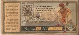 ABONO DE 25 ENTRADAS EXPOSICION INTERNACIONAL DE BARCELONA 1929 CON SELLO SECO Y TINTA (25 ABONOS-ENTRADAS) - Tickets - Entradas