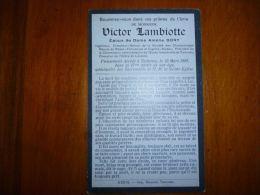 BP1-2-102 LC119 Souvenir Victor LAMBIOTTE DORY Tamines 1863 1909 Directeur charbonnages Roton Farciennes Oignies Aiseau