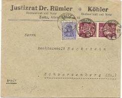 DR Infla Firmenbrief Mif. Mi.149,165 Justizrat Rümler , Zeitz 1.3.22 (146) - Lettres & Documents