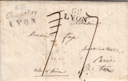 Cursive 68 Lyon + 68 Chasselay Lyon, DEB Tours Redistribu� 1825