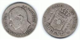 ESPAÑA ALFONSO XII 50 CENTIMOS PESETA 1881  PLATA SILVER C26 - [ 1] …-1931 : Reino
