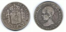 ESPAÑA ALFONSO XIII 50 CENTIMOS PESETA 1889 PLATA SILVER C23 - [ 1] …-1931 : Royaume
