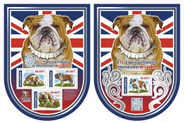 m15108ab Mozambique 2015 Unusual Shape London Europhilex International Exposition 2 s/s British Bulldog Dog