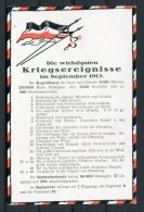 WW1 Germany Kriegsereignisse Flag Postcard September 1915 - Patriotic