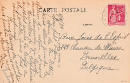 PAIX 1F25 YT 370 SUR CPA LA BAULE 8/3/39 POUR BRUXELLES BELGIQUE            TDA28 - 1921-1960: Modern Tijdperk