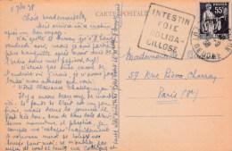PAIX 55C SUR CPA CHATELGUYON 4/9/38 DAGUIN INTESTIN FOIE COLIBACILLOSE CHA834 POUR PARIS       TDA28 - Marcofilia (sobres)
