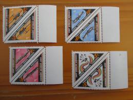 KUT 1976 30th.Anniv Of EAST AFRICAN AIRWAYS Issue 4 Values To 3/- MNH TRIANGULARS In Marginal PAIR Each Value. - Kenya, Uganda & Tanganyika