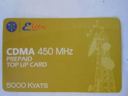 Myanmar Birmanie Burma Birma Elite Tech CDMA 450 MHz 5000 KYATS Mobile GSM Prepaid TOP UP Card EXP: 9.04.2013 - Myanmar
