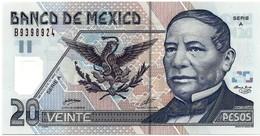 MEXICO - 20 PESOS - 17.5.2001 - Pick 116.a - UNC. - Série A - Polymer - BENITO JUAREZ - 2 Scans - México