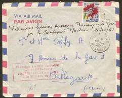 Marcophilie 1° Liaison Aérienne Tananarive Paris 20 10 1961 Malagasy Madagascar - Madagascar (1960-...)