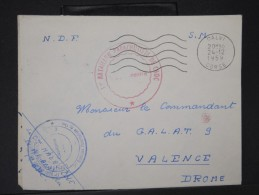 FRANCE- Enveloppe En FM De Calvi Du 1er Bataillon Parachutiste De Choc Pour Valence En 1959       P5835 - Poststempel (Briefe)