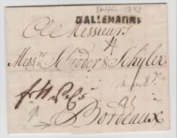 Pre254/ PREUSSEN -  STETTIN 1743, Einzeiler D'ALAMAGNE + Handschriftlich Weiter Franco  Nach Bordeaux, M. Textinhalt - Duitsland
