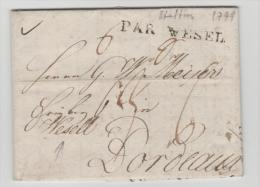 Pre255/ PREUSSEN -  STETTIN 1799 PAR WESEL (Frühtype)) Nach Bordeaux Mit Textinhalt - Duitsland