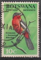 Botswana, 1967 - 10c CFrimson-breasted Shrike - Nr.25 Usato° - Botswana (1966-...)