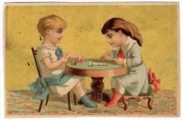 Chromo Enfants / Fillettes Jouant Aux Dominos - Autres