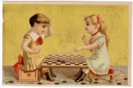 Chromo Enfants / Fillettes Jouant Aux Dames - Autres