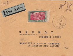 Lettre N°1 Poste Aérienne Monaco Pour Brunoy 1933 - Poste Aérienne