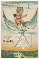 Bruxelles  Carte Systeme Depliant Multi Vues Hirondelle Messagere Bonheur - Belgium