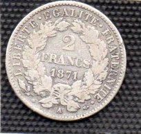 MONNAIE 2 FRANCS  CERES 1871 A  27 Mm TTB - France