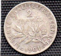 MONNAIE 2 FRANCS  SEMEUSE 1901 TB - France