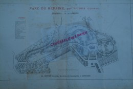 19- VIGEOIS- 87- LIMOGES - RARE PLAN H. NIVET JEUNE- ARCHITECTE-PAYSAGISTE-PARC DU CHATEAU DU REPAIRE- M. DE LAPISSE- - Architecture