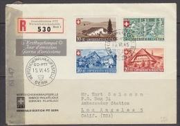 Switzerland 1945 Pro Patria 4v On Registred FDC To Los Angeles + Censor  (22099) - FDC