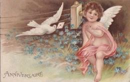 Belle CPA Gaufrée  VOEUX  ANNIVERSAIRE  ANGE  ANGELOT  Fil Téléphonique  Message Porté Par Une COLOMBE - Anges