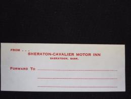 HOTEL MOTOR INN MOTEL SHERATON CAVALIER SASKATOON USA UNITED STATES LUGGAGE LABEL ETIQUETTE AUFKLEBER DECAL STICKER - Adesivi Di Alberghi