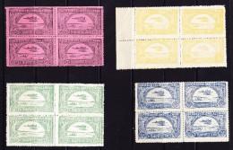 KOLUMBIEN - SCADTA 1920 Mi# 1 Bis 3 + 5 In Viererblock Postfrisch Gummi Etwas Unregelmässig - Colombie