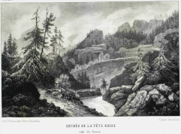 Savoie ENTREE DE LA TETE NOIRE  Côté Savoie  Dessin Et Liho.de Cabaud -  Litho. Originale De La Savoie Historique Et Pit - Lithographies