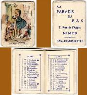 Carnet Calendrier Almanach, Couverture Signée Germaine Bouret, Adresse à Nimes ( Au Paradis Du Bas ) - Calendriers