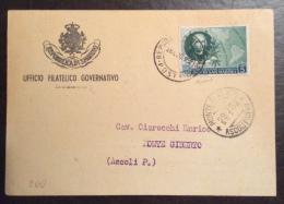 SAN MARINO 952 - L. 5 COLOMBO ISOLATO SU CARTOLINA STAMPE - San Marino