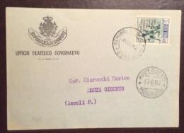 SAN MARINO 1952 - L. 5 XXVIII FIERA DI MILANO ISOLATO  SU CARTOLINA STAMPE PER MONTE GIBERTO ASCOLI PICENO - San Marino