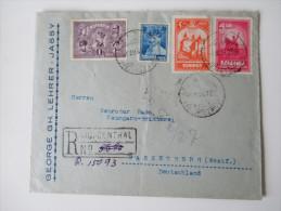 Rumänien R-Brief 1929 MiF Perfin. 10. Jahrestag Vereinigung Siebenbürgen Bahnpoststempel: Breslau - Beuthen (Oberschl) - Covers & Documents