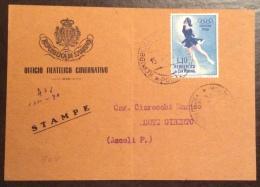SAN MARINO 1956 - L.10 OLIMPIADI ISOLATO SU CARTOLINA STAMPE PER MONTE GIBERTO ASCOLI PICENO - San Marino