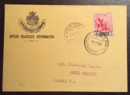 SAN MARINO 1952 - L.5  VEDUTE POSTA AEREA SU CARTOLINA STAMPE PER MONTE GIBERTO ASCOLI PICENO - San Marino