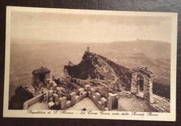 SAN MARINO - TERZA TORRE VISTA DA SECONDA ROCCA  - VIAGGIATA 1939 - EDITORE A.REFFI - San Marino