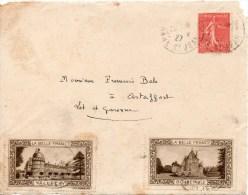 DEVANT De Lettre Obliteree Avec 2 Vignettes Touristiques - Lettres & Documents