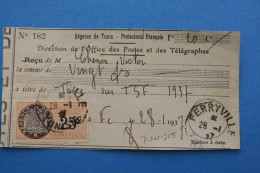 REGENCE DE TUNIS PROTECTORAT FRANCAIS FISCAL FERRYVILLE TUNISIE DIRECTION OFFICE POSTE TELEGRAPHE TAXE TSF 28 JAN 1937 - Brieven En Documenten