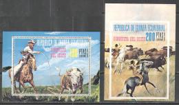 2773 ✅ Indians Cowboys Wild West Fauna 1974 Guinea Equatorial 2S/s MNH ** 1S/s - Wothout Gum 14,5ME - American Indians